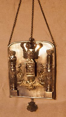 <em>Torah Breastplate</em>, 1855. Filigreed silver, 9 x 7 in. (22.9 x 17.8 cm). Brooklyn Museum, Purchased with funds given by Isador Leviton, 49.228.5. Creative Commons-BY (Photo: Brooklyn Museum, CUR.49.228.5.jpg)
