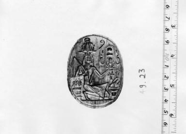 <em>Green Glazed Steatite Scarab</em>, ca. 1850-1860 C.E. Steatite, glaze, 13/16 x 1 7/8 x 2 1/2 in. (2 x 4.7 x 6.3 cm). Brooklyn Museum, Anonymous gift, 49.23. Creative Commons-BY (Photo: , CUR.49.23_NegA_print_bw.jpg)