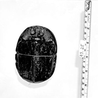 <em>Large Steatite? Heart Scarab</em>. Stone, 1 7/8 x 2 7/8 x 4 1/8 in. (4.7 x 7.3 x 10.4 cm). Brooklyn Museum, Anonymous gift, 49.25. Creative Commons-BY (Photo: Brooklyn Museum, CUR.49.25_negA_bw.jpg)