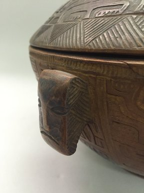 Marquesan. <em>Bowl with Cover (Ko'oka)</em>. Wood, 4 13/16 x 9 1/16 in. (12.2 x 23 cm). Brooklyn Museum, Museum Collection Fund and Henry L. Batterman Fund, 49.47.1. Creative Commons-BY (Photo: Brooklyn Museum, CUR.49.47.1_detail1.jpg)