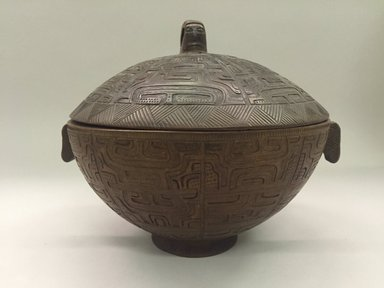 Marquesan. <em>Bowl with Cover (Ko'oka)</em>. Wood, 4 13/16 x 9 1/16 in. (12.2 x 23 cm). Brooklyn Museum, Museum Collection Fund and Henry L. Batterman Fund, 49.47.1. Creative Commons-BY (Photo: Brooklyn Museum, CUR.49.47.1_overall1.jpg)