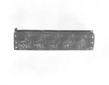<em>Oblong Cosmetic Box Decorated with Five Ibises, with Separate Sliding Cover</em>. Wood, ivory or bone, length: (12.4 cm). Brooklyn Museum, Charles Edwin Wilbour Fund, 49.55a-b. Creative Commons-BY (Photo: Brooklyn Museum, CUR.49.55a-b_NegB_print_bw.jpg)