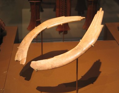 <em>Pair of Clappers in Form of Human Hands</em>, ca. 1539-1190 B.C.E. Ivory, 49.58.1: 1 5/16 x 7 3/8 in. (3.3 x 18.8 cm). Brooklyn Museum, Charles Edwin Wilbour Fund, 49.58.1-.2. Creative Commons-BY (Photo: Brooklyn Museum, CUR.49.58.1-2_erg456.jpg)