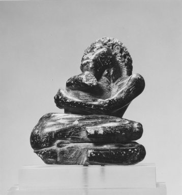 Egyptian. <em>Statuette of a Nubian Captive</em>, probably 2nd-1st century B.C. Steatite, 3 7/16 × 2 13/16 × 2 1/8 in. (8.8 × 7.1 × 5.4 cm). Brooklyn Museum, Charles Edwin Wilbour Fund, 49.59. Creative Commons-BY (Photo: Brooklyn Museum, CUR.49.59_negA_print_bw.jpg)