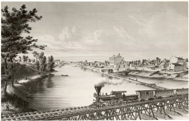 Louis Kurz (American, 1834-1921). <em>Watertown, Wisconsin, from Milwaukee and Western Railroad Bridge</em>, ca. 1857. Lithograph on wove paper, 14 3/16 x 22 1/8 in. (36 x 56.2 cm). Brooklyn Museum, Dick S. Ramsay Fund, 49.68 (Photo: Brooklyn Museum, CUR.49.68.jpg)
