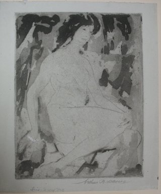 Arthur B. Davies (American, 1862-1928). <em>Iris</em>, 1922. Drypoint and aquatint on grey laid paper, Sheet: 10 3/16 x 8 9/16 in. (25.9 x 21.7 cm). Brooklyn Museum, Gift of Ferargil Galleries, 50.137.5 (Photo: Brooklyn Museum, CUR.50.137.5.jpg)
