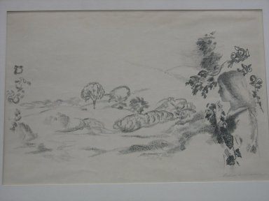Arthur B. Davies (American, 1862-1928). <em>Autumn Haze</em>, 1924. Lithograph (transfer) on China paper, 21 x 27 3/4 in. (53.3 x 70.5 cm). Brooklyn Museum, Gift of Ferargil Galleries, 50.137.8. © artist or artist's estate (Photo: Brooklyn Museum, CUR.50.137.8.jpg)