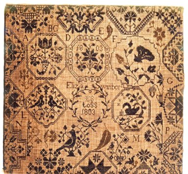 American. <em>Sampler</em>, 1803. Linen, 22 x 21 in. (55.9 x 53.3 cm). Brooklyn Museum, Bequest of Mrs. William Sterling Peters, 50.141.166. Creative Commons-BY (Photo: Brooklyn Museum, CUR.50.141.166.jpg)