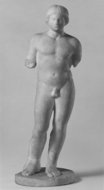 Classical; Alexandrian?. <em>Nude Young Man Standing on Circular Base</em>, 2nd century B.C.E. Marble, 13 1/2 × Diam. of base  4 7/16 in. (34.3 × 11.3 cm). Brooklyn Museum, Gift of Albert Gallatin, 50.61. Creative Commons-BY (Photo: Brooklyn Museum, CUR.50.61_NegA_print_bw.jpg)