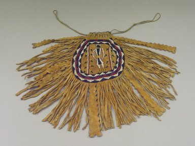 Plains. <em>Fringed Pouch with Beaded Figure</em>, 1868-1901. Hide, Beads, 15 in. (38.1 cm). Brooklyn Museum, Henry L. Batterman Fund and the Frank Sherman Benson Fund, 50.67.17. Creative Commons-BY (Photo: Brooklyn Museum, CUR.50.67.17_view1.jpg)