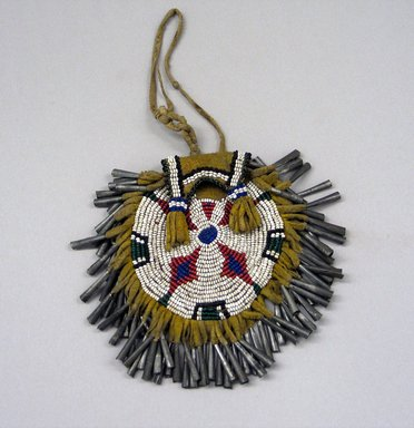Plains. <em>Circular Beaded Pouch with Jingles</em>, 19th century. Hide, beads, metal, cotton thread, 4 3/4 x 5 in. (12.1 x 12.7 cm). Brooklyn Museum, Henry L. Batterman Fund and the Frank Sherman Benson Fund, 50.67.35. Creative Commons-BY (Photo: Brooklyn Museum, CUR.50.67.35.jpg)