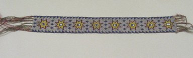 Chippewa (Anishinaabe). <em>Garter</em>, early 19th century. Crewel yarn, glass beads, seed beads, thread, 12 1/2 x 1 3/4 in. (31.8 x 4.4 cm). Brooklyn Museum, Henry L. Batterman Fund and the Frank Sherman Benson Fund, 50.67.37c. Creative Commons-BY (Photo: Brooklyn Museum, CUR.50.67.37c.jpg)