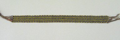 Chippewa (Anishinaabe). <em>Garter</em>, early 19th century. Thread, yarn, glass seed beads, 12 1/4 x 1in. (31.1 x 2.5cm). Brooklyn Museum, Henry L. Batterman Fund and the Frank Sherman Benson Fund, 50.67.37d. Creative Commons-BY (Photo: Brooklyn Museum, CUR.50.67.37d.jpg)