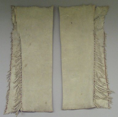 Red River Metis. <em>Pair of Chief's Dress Leggings</em>, early 19th century. Buckskin, pony beads, porcupine quills, thread, 25 in.  (63.5 cm). Brooklyn Museum, Henry L. Batterman Fund and Frank Sherman Benson Fund, 50.67.7b-c. Creative Commons-BY (Photo: Brooklyn Museum, CUR.50.67.7b-c_view1.jpg)