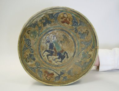 <em>Bowl</em>, 13th century. Polychrome, Ranges ware, 3 3/8 x 8 9/16 in. (8.5 x 21.8 cm). Brooklyn Museum, Anonymous gift, 51.105.2. Creative Commons-BY (Photo: Brooklyn Museum, CUR.51.105.2_interior.jpg)