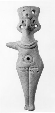 Ancient Near Eastern. <em>Female Figure</em>, ca. 1700 B.C.E. Terracotta, unglazed, 1 1/4 x 1 x 4 7/8 in. (3.1 x 2.5 x 12.4 cm). Brooklyn Museum, Gift of Dr. Florence Day, 51.117. Creative Commons-BY (Photo: Brooklyn Museum, CUR.51.117_NegA_print_bw.jpg)