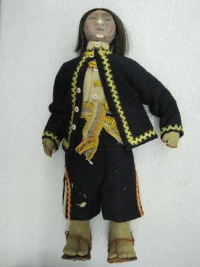 South American. <em>Male Doll</em>. Wool, cotton, wood, leather, white buttons, hair, 14 x 8 x 2 1/2 in. (35.6 x 20.3 x 6.4 cm). Brooklyn Museum, Gift of Mrs. Adele Simpson, 51.126.4. Creative Commons-BY (Photo: Brooklyn Museum, CUR.51.126.4_view1.jpg)