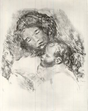 Pierre-Auguste Renoir (French, 1841-1919). <em>Mother and Child</em>, ca. 1912. Lithograph on laid Arches paper, 19 1/2 x 19 in. (49.5 x 48.3 cm). Brooklyn Museum, Anonymous gift, 51.128 (Photo: Brooklyn Museum, CUR.51.128.jpg)
