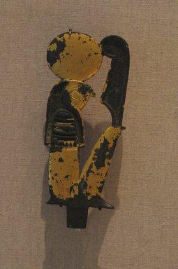 <em>Falcon-Headed Sun-God</em>, ca. 100-30 B.C.E. Bronze, gold, 4 15/16 in. (12.6 cm). Brooklyn Museum, Charles Edwin Wilbour Fund, 51.147.1. Creative Commons-BY (Photo: Brooklyn Museum, CUR.51.147.1_wwgA-1.jpg)