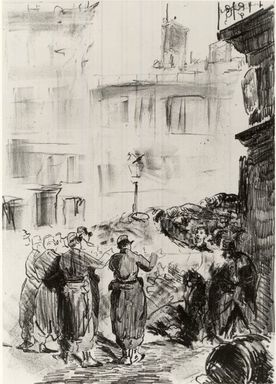 Édouard Manet (French, 1832-1883). <em>The Barricade (La Barricade)</em>, 1871. Lithograph with scraping on chine collé paper, Chine: 18 11/16 x 13 7/16 in. (47.5 x 34.1 cm). Brooklyn Museum, Frederick Loeser Fund, 51.151.5 (Photo: Brooklyn Museum, CUR.51.151.5.jpg)