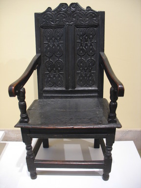 American. <em>Wainscot Chair</em>, second half 17th century. Painted oak, 48 1/8 x 26 3/4 x 23 1/2 in. (122.2 x 67.9 x 59.7 cm). Brooklyn Museum, Dick S. Ramsay Fund, 51.158. Creative Commons-BY (Photo: Brooklyn Museum, CUR.51.158.jpg)