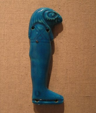 <em>One of the Four Sons of Horus</em>, ca. 664-after 30 B.C.E. Faience, 4 5/16 in.  (11.0 cm). Brooklyn Museum, Charles Edwin Wilbour Fund, 51.223.3. Creative Commons-BY (Photo: Brooklyn Museum, CUR.51.223.3_wwgA-3.jpg)