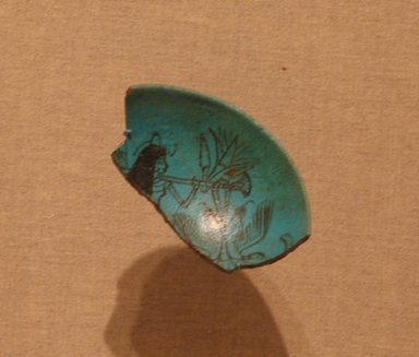 <em>Fragment of a Decorated Bowl</em>, ca. 1336-1295 B.C.E. Faience, 3 1/4 x 1 7/8 in. (8.3 x 4.8 cm). Brooklyn Museum, Charles Edwin Wilbour Fund, 51.227. Creative Commons-BY (Photo: Brooklyn Museum, CUR.51.227_wwg8.jpg)