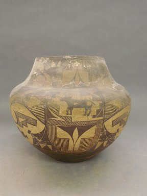 Haak'u (Acoma Pueblo). <em>Jar with Globular Body</em>. Clay, slip, 9 1/16 x 10 1/2 in.  (23 x 26.7 cm). Brooklyn Museum, Gift of Mary Johnson, 51.243.6. Creative Commons-BY (Photo: Brooklyn Museum, CUR.51.243.6_view1.jpg)