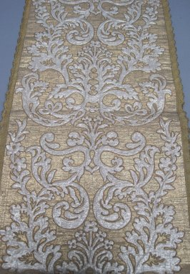 <em>Textile</em>, 16th-19th century. Metallic thread, a: 22 1/2 x 51 in. (57.2 x 129.5 cm). Brooklyn Museum, Gift of Susan D. Bliss, 51.248.1. Creative Commons-BY (Photo: Brooklyn Museum, CUR.51.248.1a.jpg)