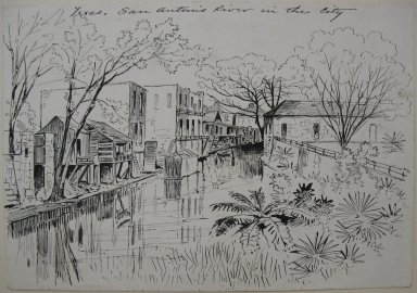 Frank Hamilton Taylor (American, 1846-1926). <em>Texas, San Antonio River in the City</em>, ca. 1875-1885. Pen and ink on paper, sheet: 6 7/8 x 9 15/16 in. (17.5 x 25.2 cm). Brooklyn Museum, Dick S. Ramsay Fund, 51.70 (Photo: Brooklyn Museum, CUR.51.70.jpg)