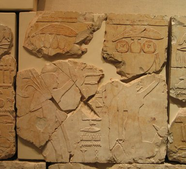 <em>Relief Blocks from the Tomb of the Vizier Nespeqashuty</em>, ca. 664-610 B.C.E. Limestone, 16 1/8 x 16 3/4 in. (40.9 x 42.5 cm). Brooklyn Museum, Charles Edwin Wilbour Fund, 52.131.9. Creative Commons-BY (Photo: Brooklyn Museum, CUR.52.131.9_wwgA-3.jpg)