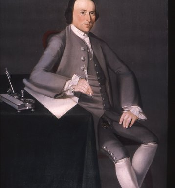 William Johnston (American, 1732-1772). <em>Thomas Mumford VI</em>, 1763. Oil on canvas, 50 1/16 x 39 3/16 in. (127.2 x 99.5 cm). Brooklyn Museum, Dick S. Ramsay Fund, Carll H. de Silver Fund, and Museum Collection Fund, 52.41 (Photo: Brooklyn Museum, CUR.52.41.jpg)