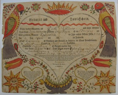 Unknown. <em>Untitled (Birth and Baptismal Record for Carl Zollner's Daughter)</em>, late 18th century. Woodcut with hand-painted decorations and inscriptions in ink and watercolor on paper, Sheet: 12 5/8 x 15 9/16 in. (32.1 x 39.5 cm). Brooklyn Museum, Gift of the Monroe and Estelle Hewlett Collection, 52.93.29 (Photo: Brooklyn Museum, CUR.52.93.29.jpg)