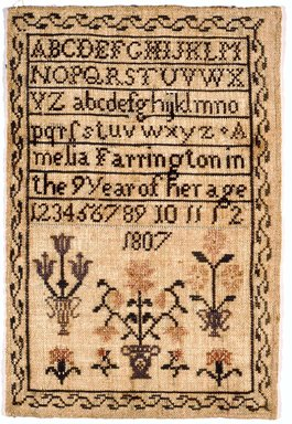Amelia Farrington. <em>Sampler</em>, 1807. Linen, 8 x 11 3/4 in. (20.3 x 29.8 cm). Brooklyn Museum, Gift of the Monroe and Estelle Hewlett Collection, 52.93.33. Creative Commons-BY (Photo: Brooklyn Museum, CUR.52.93.33.jpg)