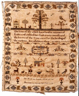 Ellen Prescott. <em>Sampler or Fracture Drawing or Print</em>, 1827. Linen, sampler: 17 3/4 x 21 1/2 in. (45.1 x 54.6 cm). Brooklyn Museum, Gift of the Monroe and Estelle Hewlett Collection, 52.93.36. Creative Commons-BY (Photo: Brooklyn Museum, CUR.52.93.36.jpg)
