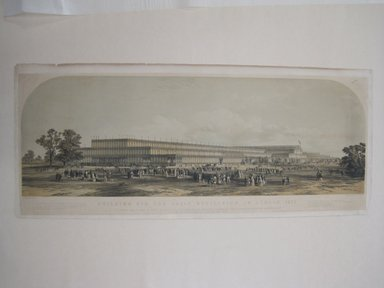 George Hawkins II (British, 1819-1852). <em>Building for the Great Exhibition in London</em>, 1851. Lithograph, 12 15/16 x 37 13/16 in. (32.8 x 96 cm). Brooklyn Museum, Brooklyn Museum Collection, 53.119 (Photo: Brooklyn Museum, CUR.53.119.jpg)