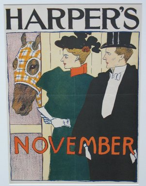 Edward Penfield (American, 1866-1925). <em>Harper's Poster - November 1895</em>, 1895. Lithograph on wove paper, sheet: 16 7/16 x 9 in. (41.7 x 22.8 cm). Brooklyn Museum, Dick S. Ramsay Fund, 53.167.14 (Photo: Brooklyn Museum, CUR.53.167.14.jpg)