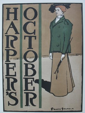 Edward Penfield (American, 1866-1925). <em>Harper's Poster</em>, ca. 1894-1898. Lithograph on wove paper, Sheet: 19 1/2 x 14 5/16 in. (49.6 x 36.4 cm). Brooklyn Museum, Dick S. Ramsay Fund, 53.167.31 (Photo: Brooklyn Museum, CUR.53.167.31.jpg)
