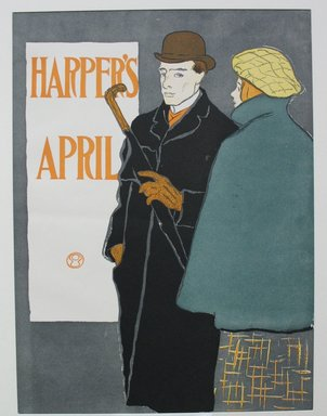 Edward Penfield (American, 1866-1925). <em>Harper's Poster - April 1896</em>, 1896. Lithograph on wove paper, Sheet: 17 7/8 x 13 3/8 in. (45.4 x 34 cm). Brooklyn Museum, Dick S. Ramsay Fund, 53.167.5 (Photo: Brooklyn Museum, CUR.53.167.5.jpg)