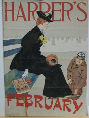 Edward Penfield (American, 1866-1925). <em>Harper's Poster - February 1894</em>, 1894. Lithograph on wove paper, Sheet: 15 7/8 x 11 1/4 in. (40.4 x 28.6 cm). Brooklyn Museum, Dick S. Ramsay Fund, 53.167.7 (Photo: Brooklyn Museum, CUR.53.167.7.jpg)