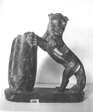<em>Serpentine Statuette in the Round of Lion</em>, 525-404 B.C.E. Serpentine, 6 1/4 x 2 3/16 x 6 1/8 in. (15.8 x 5.5 x 15.5 cm). Brooklyn Museum, Gift of Henry Hottinger, 53.221.1. Creative Commons-BY (Photo: Brooklyn Museum, CUR.53.221.1_NegA_print_bw.jpg)