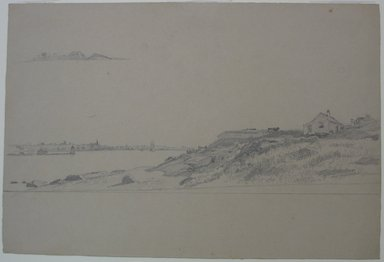 William Trost Richards (American, 1833-1905). <em>Newport from Conanicut Island</em>, n.d. Graphite on paper, Sheet: 9 7/16 x 13 15/16 in. (24 x 35.4 cm). Brooklyn Museum, Bequest of Mrs. William T. Brewster, 53.242.1 (Photo: Brooklyn Museum, CUR.53.242.1.jpg)