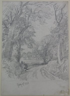 William Trost Richards (American, 1833-1905). <em>Woodard Road</em>, July 9, 1880. Graphite on paper, Sheet: 14 x 9 15/16 in. (35.6 x 25.2 cm). Brooklyn Museum, Bequest of Mrs. William T. Brewster, 53.242.4 (Photo: Brooklyn Museum, CUR.53.242.4.jpg)