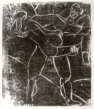 Leonard Baskin (American, 1922-2000). <em>Adam and Eve</em>, 1939. Linocut Brooklyn Museum, Gift of the artist, 53.244.2. © artist or artist's estate (Photo: Brooklyn Museum, CUR.53.244.2.jpg)