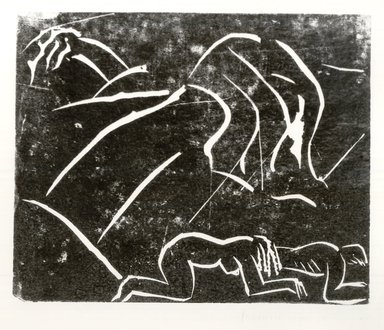 Leonard Baskin (American, 1922-2000). <em>Adam and Eve</em>, 1939. Linocut Brooklyn Museum, Gift of the artist, 53.244.4. © artist or artist's estate (Photo: Brooklyn Museum, CUR.53.244.4.jpg)