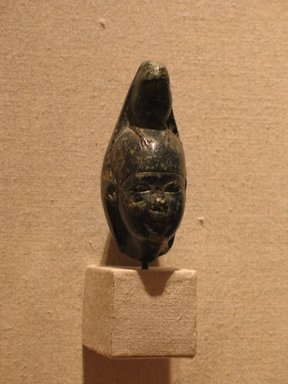 <em>Hathor with Horus as Falcon</em>, ca. 100 B.C.E.-100 C.E. Steatite, Height: 3 13/16 in. (9.7 cm). Brooklyn Museum, Charles Edwin Wilbour Fund, 53.78. Creative Commons-BY (Photo: Brooklyn Museum, CUR.53.78_wwgA-2.jpg)