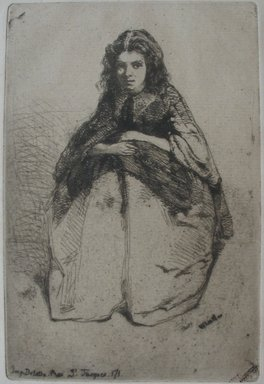James Abbott McNeill Whistler (American, 1834-1903). <em>Portrait of Young Girl</em>. Etching on paper, Image: 6 3/8 x 4 1/4 in. (16.2 x 10.8 cm). Brooklyn Museum, Gift of Robert E. Blum, 53.99.5 (Photo: Brooklyn Museum, CUR.53.99.5.jpg)