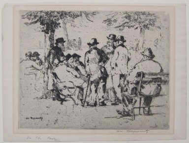 William Meyerowitz (American, 1898-1981). <em>Old Men in the Park</em>, n.d. Etching on paper, sheet: 9 1/8 x 12 1/8 in. (23.1 x 30.8 cm). Brooklyn Museum, Gift of Dr. and Mrs. Morris T. Koven, 54.181. © artist or artist's estate (Photo: Brooklyn Museum, CUR.54.181.jpg)