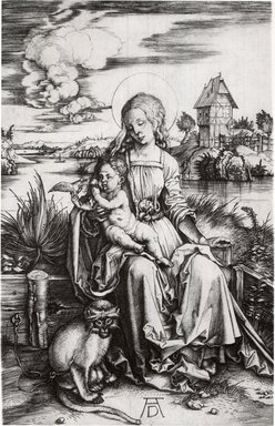 Albrecht Dürer (German, 1471-1528). <em>Madonna and Child with Monkey</em>, ca. 1498. Engraving on fine-laid reinforced paper, Sheet: 7 7/16 in. (18.9 cm). Brooklyn Museum, Gift of Mrs. Horace O. Havemeyer, 54.35.1 (Photo: Brooklyn Museum, CUR.54.35.1.jpg)