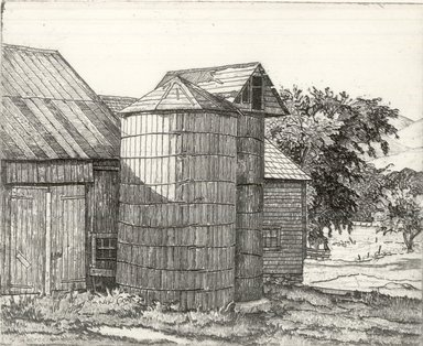 Luigi Lucioni (American, born Italy, 1900-1988). <em>Silo and Barn in Summer</em>, 1943. Etching on Japan paper, Plate: 4 x 5 in. (10.2 x 12.7 cm). Brooklyn Museum, Gift of Mrs. Horace O. Havemeyer, 54.35.14 (Photo: Brooklyn Museum, CUR.54.35.14.jpg)